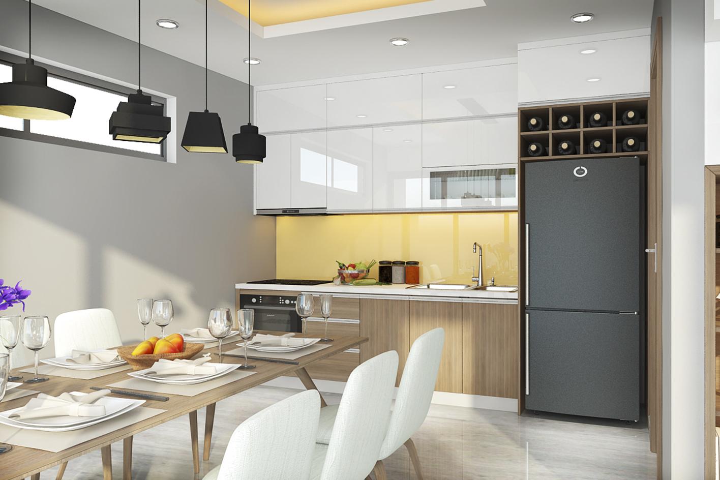 Nội thất phòng bếp hiện đại nhà anh Thắng - Gia Lâm