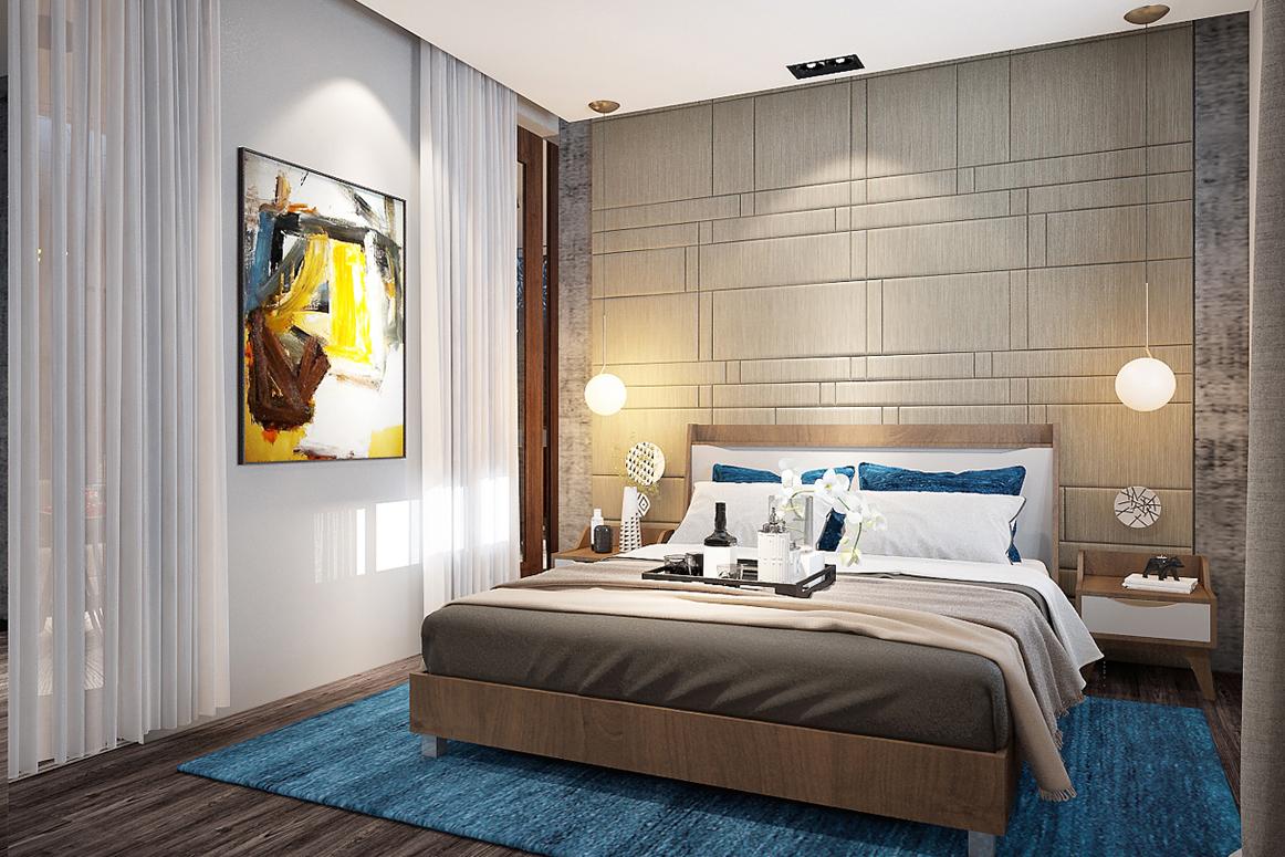 Nội thất phòng ngủ nhỏ hiện đại căn hộ mẫu 45m2 - Royal Park Bắc Ninh