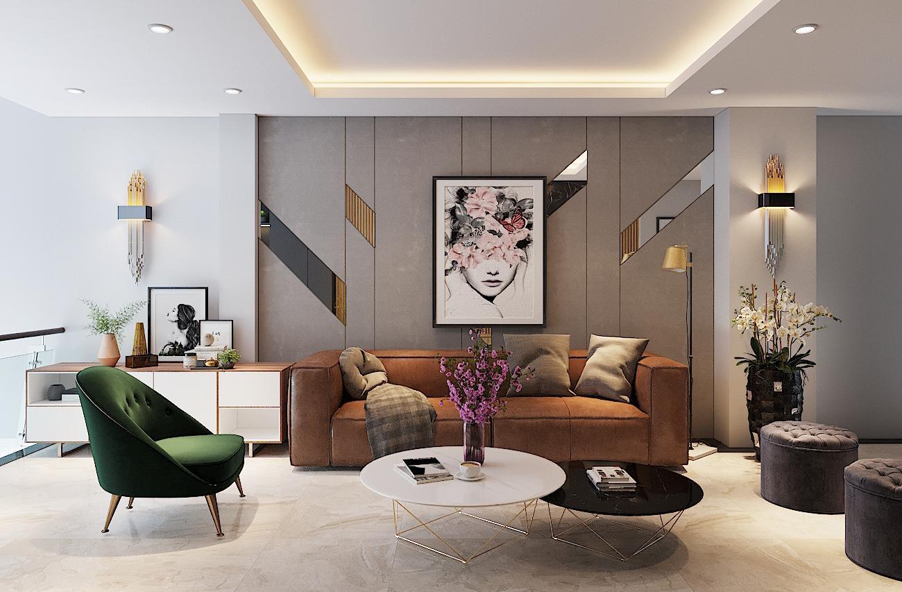 Nội thất phòng khách hiện đại nhà anh Nhân – Hà Đông