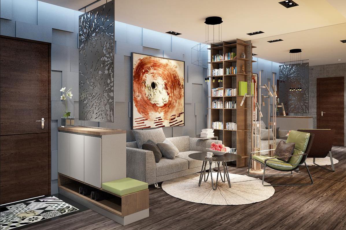 Thiết kế nội thất phòng khách nhỏ căn hộ mẫu 45m2 - Royal Park Bắc Ninh