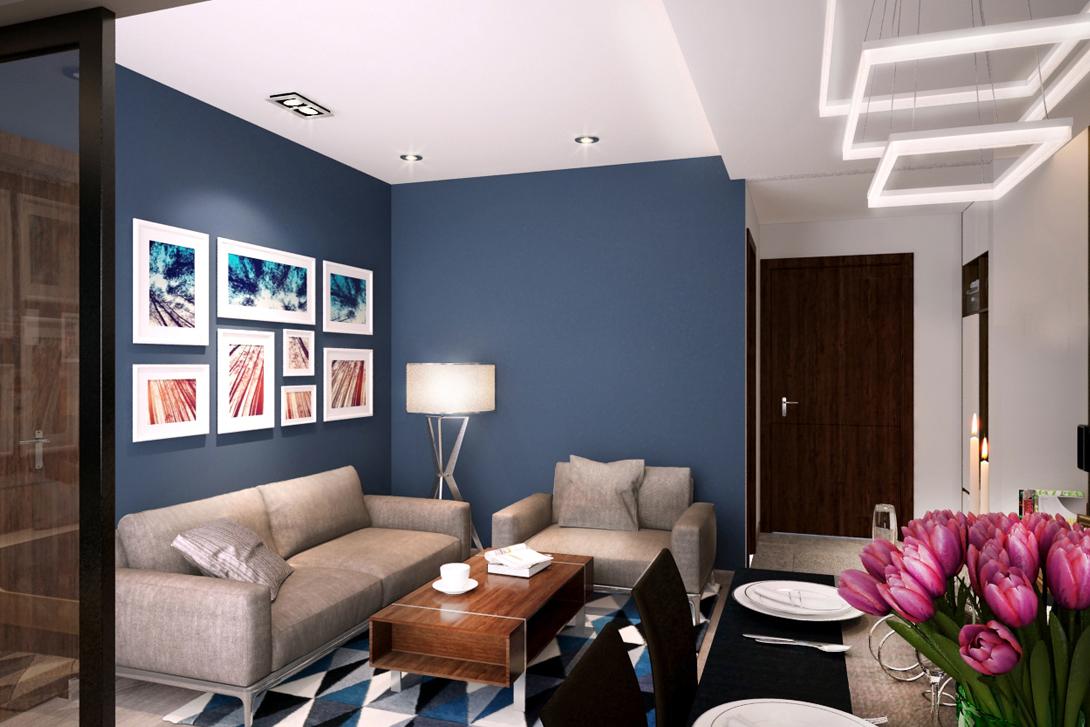Phòng khách nhỏ hiện đại căn hộ mẫu 65m2 - Royal Park Bắc Ninh