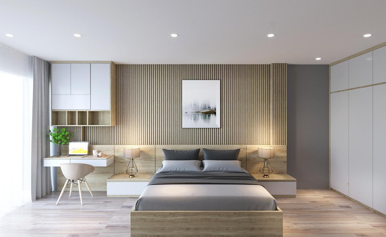 Nội thất phòng ngủ gỗ công nghiệp nhà anh Nhân – Hà Đông