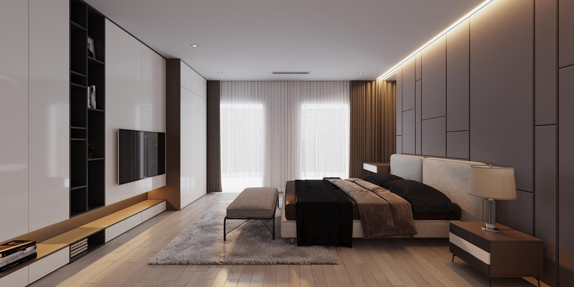 Nội thất phòng ngủ master hiện đại nhà chị Vân – Vinhome Hoà Bình