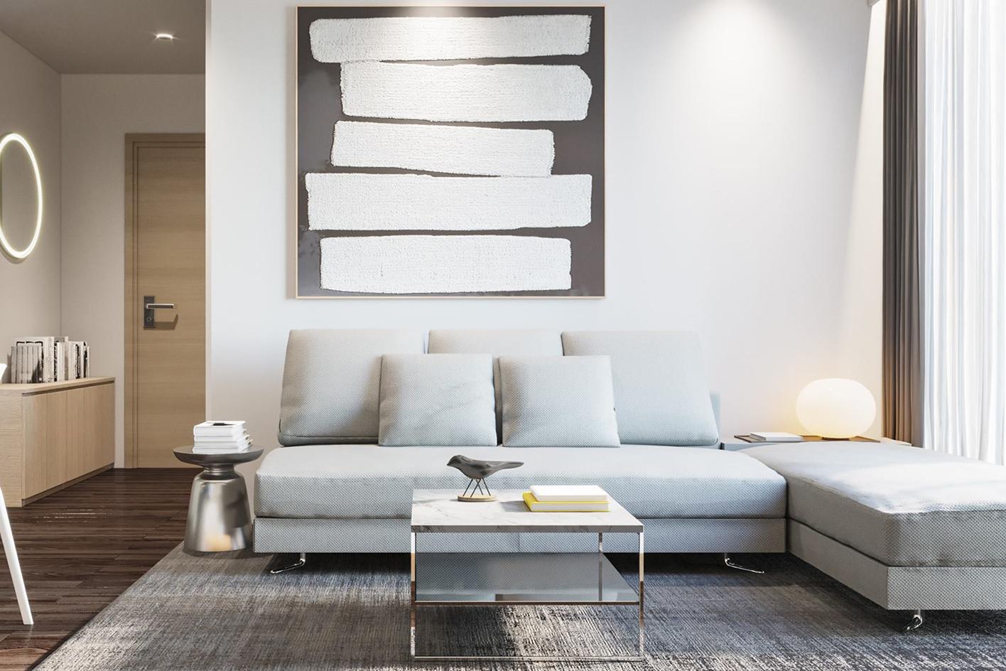 Thiết kế nội thất phòng khách bếp chung cư Mỹ Đình Plaza 2