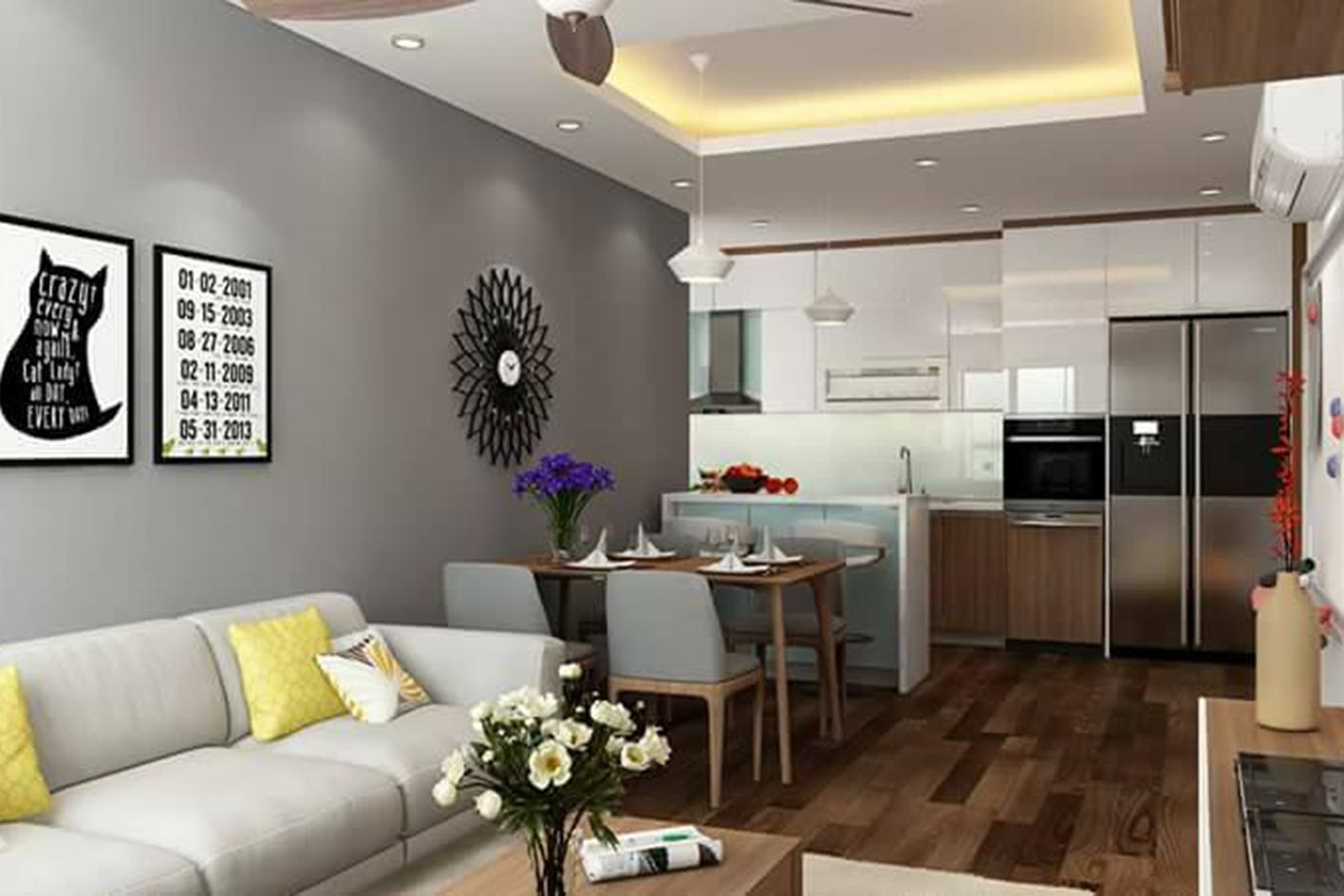 Phòng khách bếp chung cư nhà anh Khánh - Chung cư Gamuda The One Residence