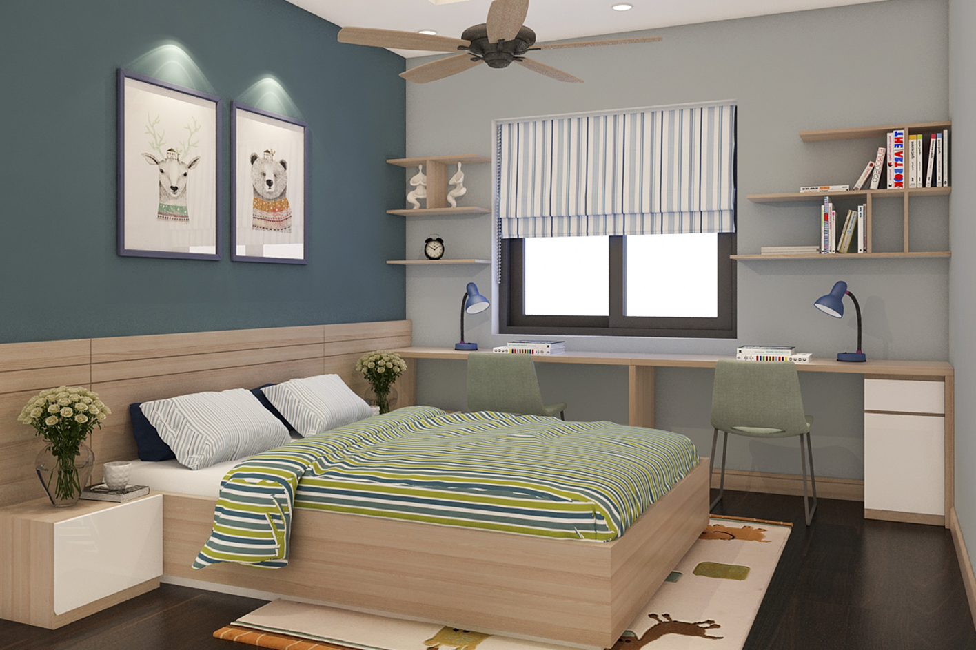 Phòng ngủ trẻ em dễ thương nhà anh Phương - Chung cư Gamuda The One Residence