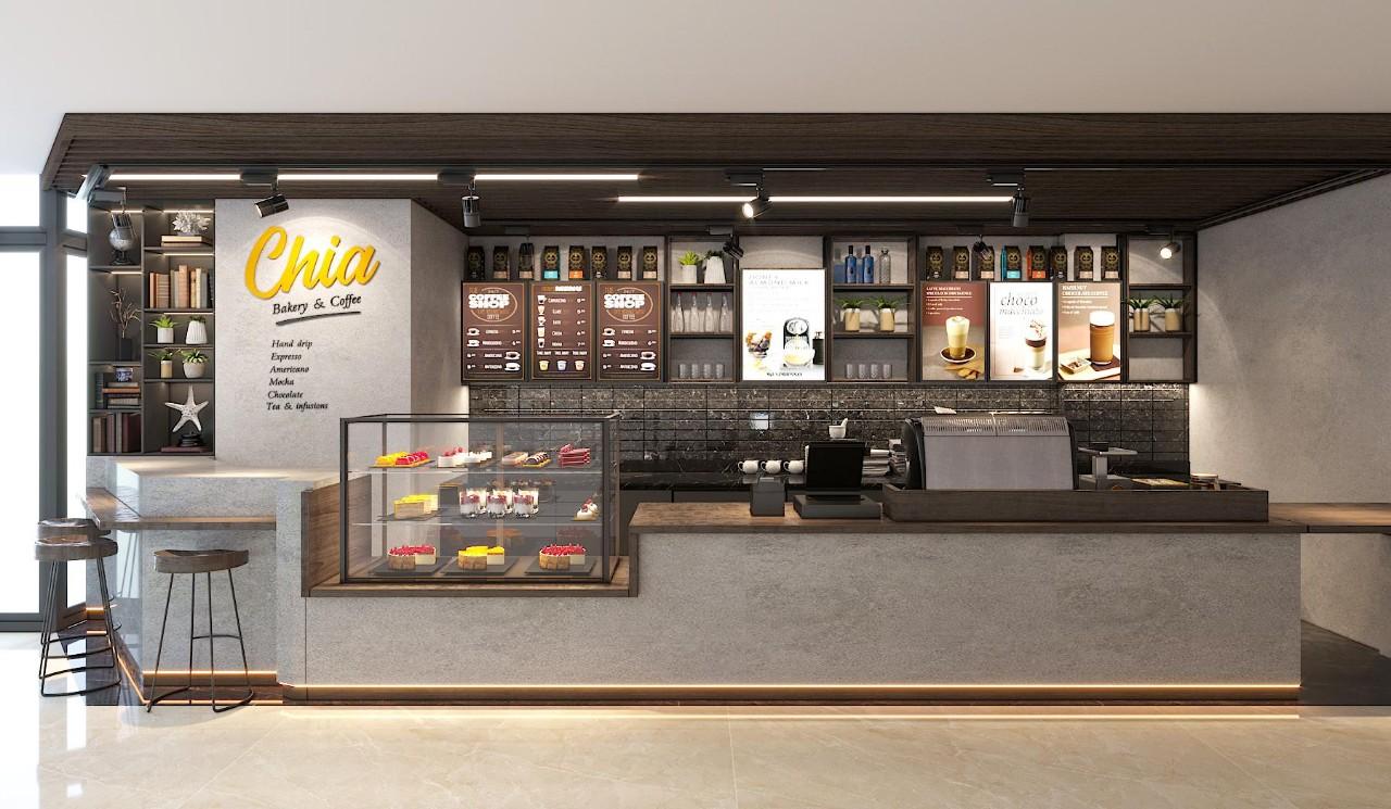 Thiết kế quán cafe take away hiện đại